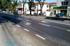 Ulica Bukowska po przejechaniu polewaczki