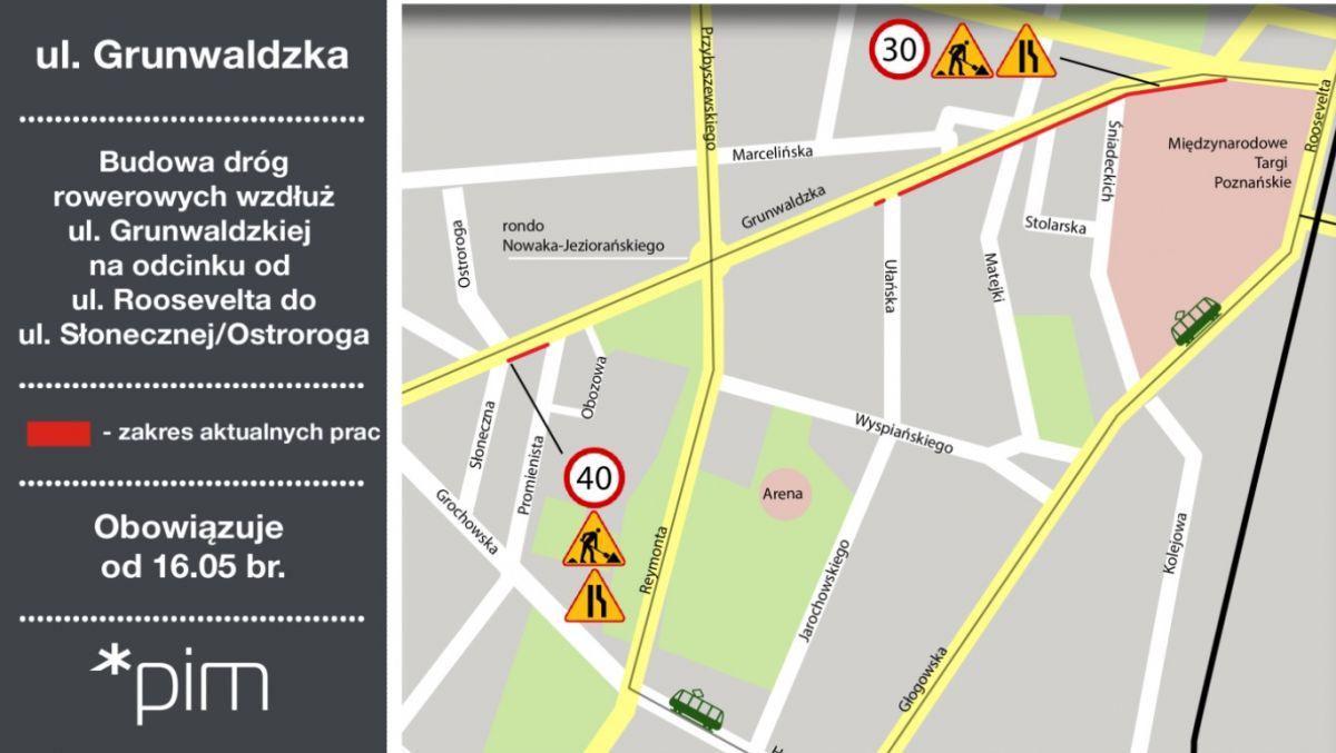 Kolejny etap budowy dróg rowerowych wzdłuż ul. Grunwaldzkiej