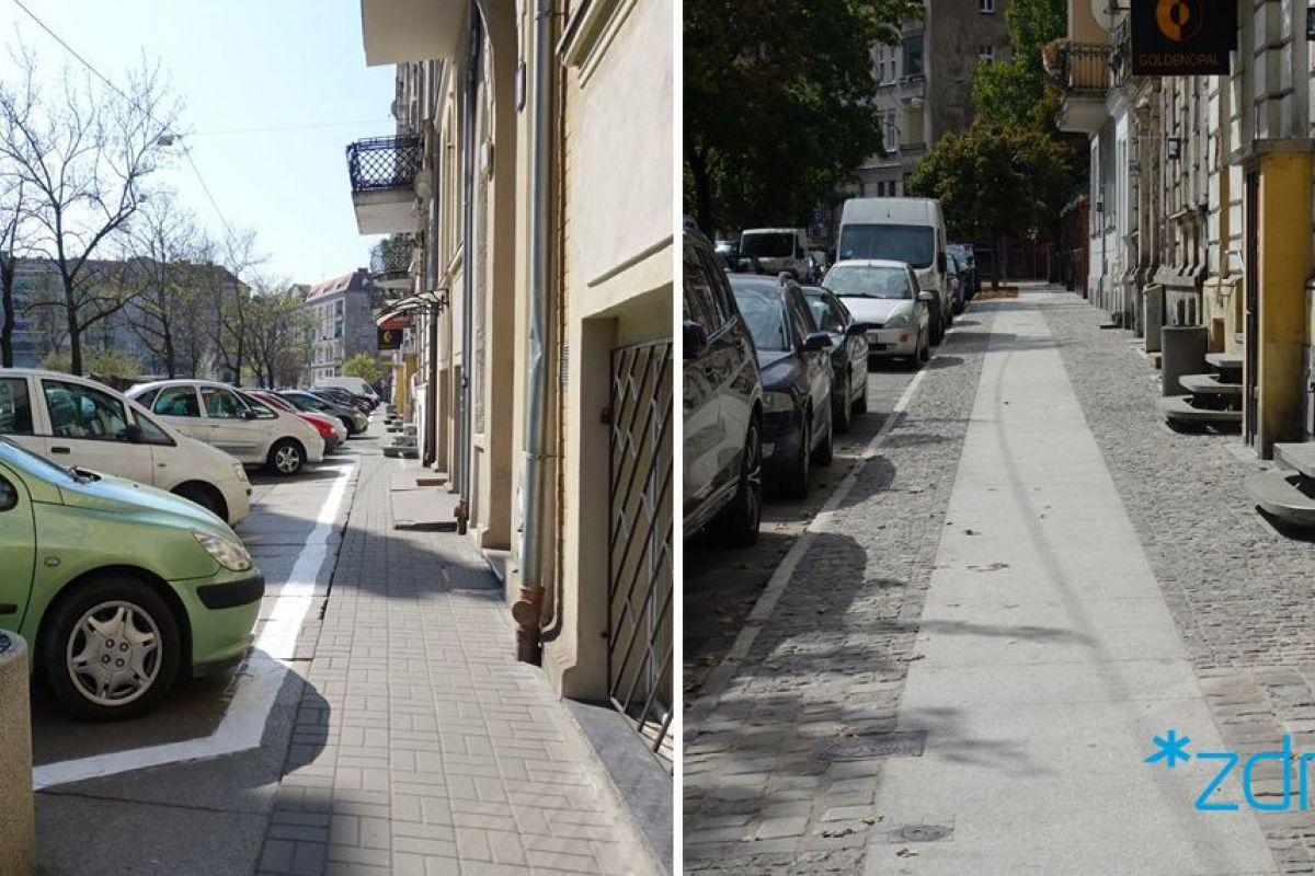 Dwa zdjęcia. Na starszym parkując samochody na zniszczonym chodniku. Na nowszym samochody parkują na jezdni, a chodnik jest wyremontowany