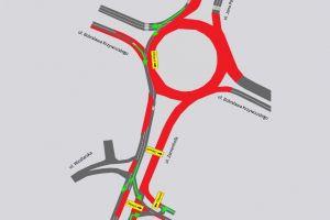 Mapa na której zaznaczone są zamknięte ulice przy rondzie Rataje