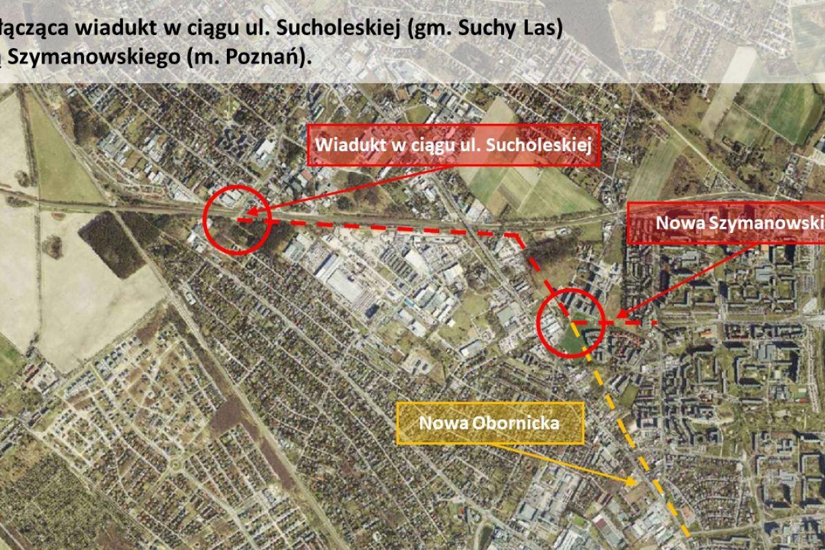 Mapa drogi łączącej wiadukt w Suchym Lesie i Nową Szymanowskiego w Poznaniu