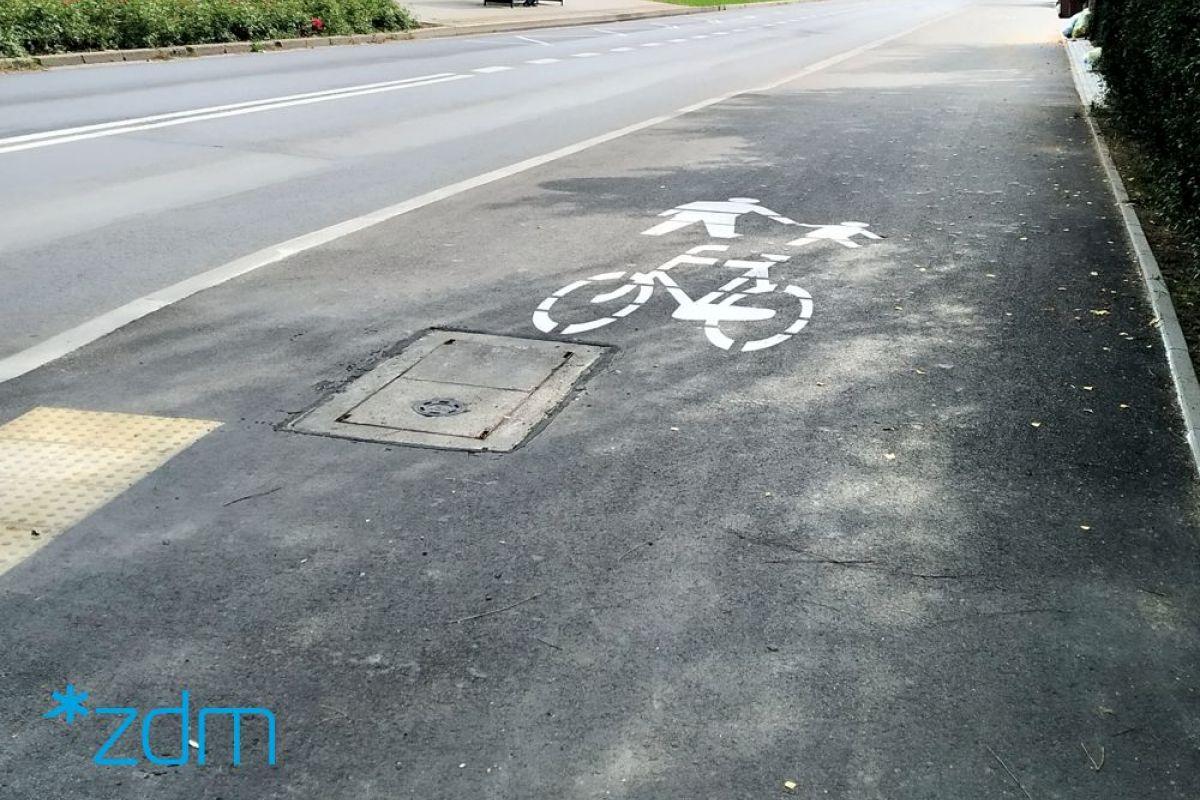 Ulica Brzechwy z nowym ciągiem pieszo-rowerowym