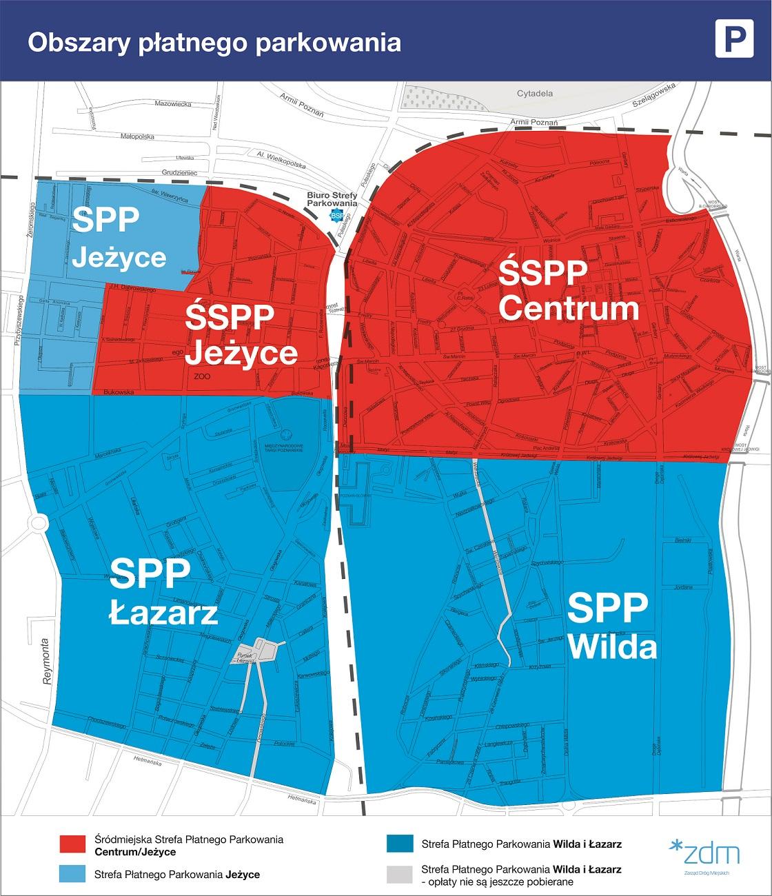 Mapa obszaru płatnego parkowania w Poznaniu